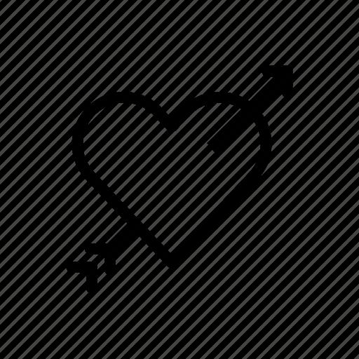 arrow, cupid, heart, in love, love, valentines day, wedding icon