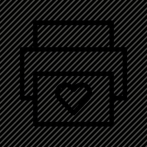 heart, love, print, printer, valentines day, wedding icon
