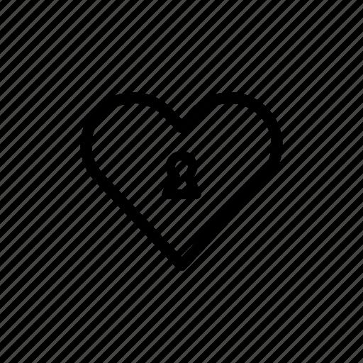heart, lock, locked, love, romantic, valentines day, wedding icon