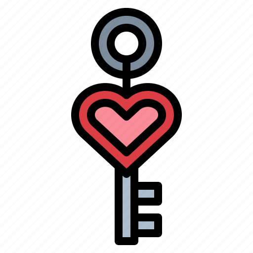 chain, day, heart, key, love, valentines icon