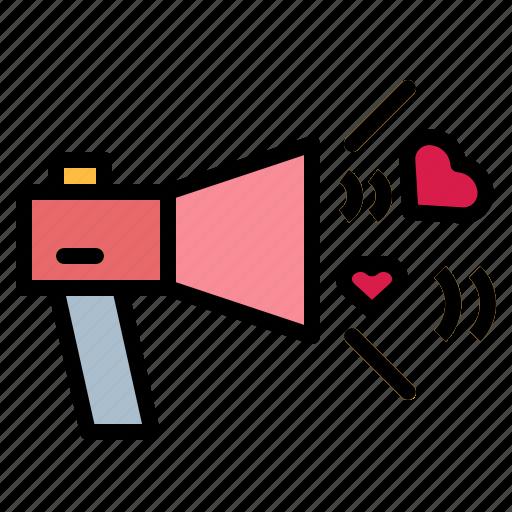 loudspeaker, love, megaphone, speaker icon