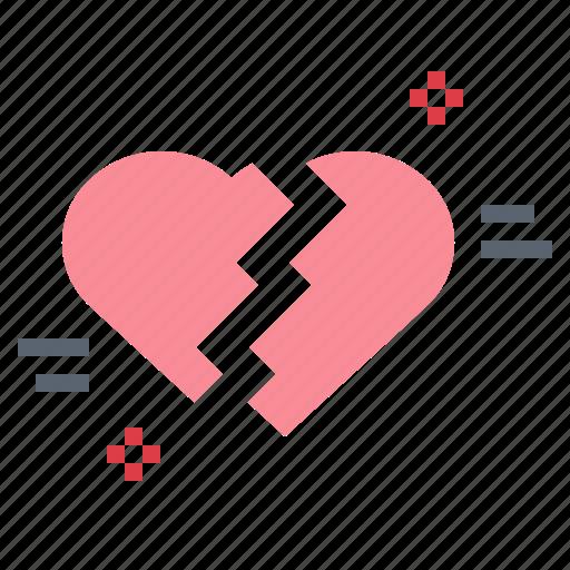 broken, couple, heart, love, lovelorn icon