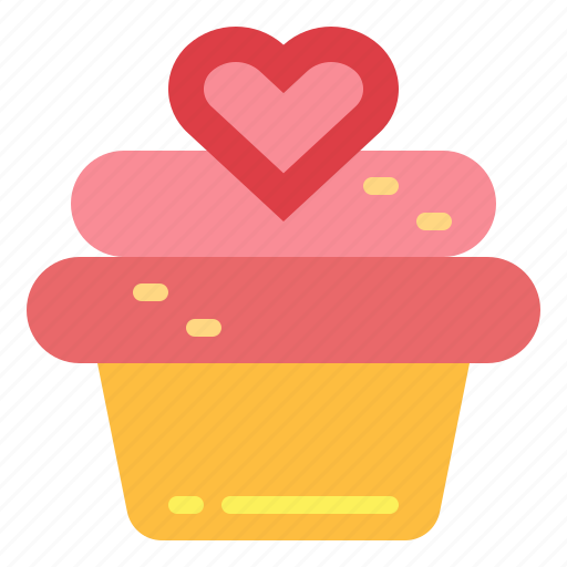 bakery, cake, cupcake, dessert, love icon