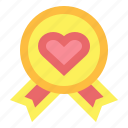 award, love, medal, ribbon, warranty icon