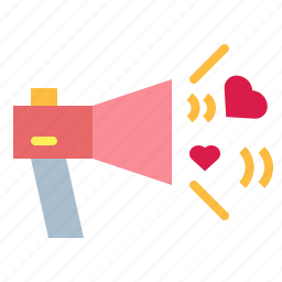 loudspeaker, love, megaphone, speaker icon