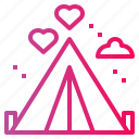 camp, camping, holidays, love, tent icon