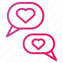 bubble, chat, conversation, heart, love, speech