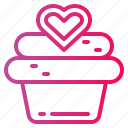 bakery, cake, cupcake, dessert, love icon