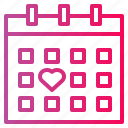 calendar, day, love, valentines icon