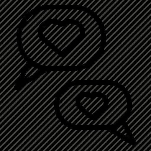 bubble, chat, conversation, heart, love, speech icon