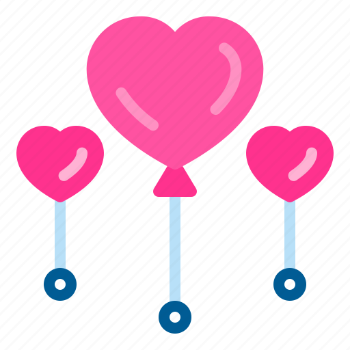 balloons, decoration, heart, love, wedding icon