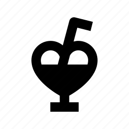 beverage, cocktail, drink glass, heart glass, juice icon