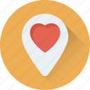 favorite location, heart, map pin, romance, sentiments icon