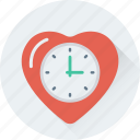 clock, heart, love, timepiece, timer icon