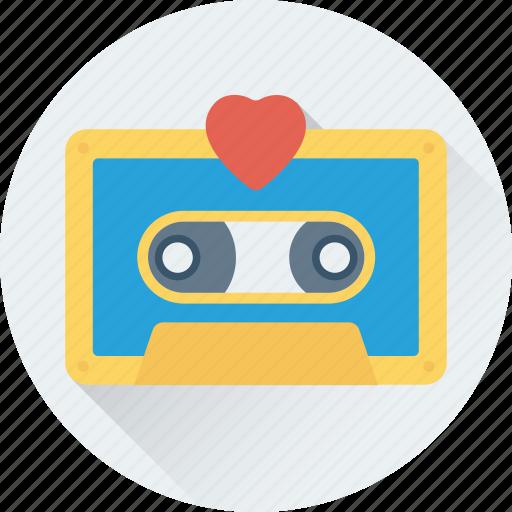 audio tape, cassette, cassette tape, heart, tape icon