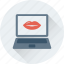 laptop, lips, loving, online love, romantic chat icon