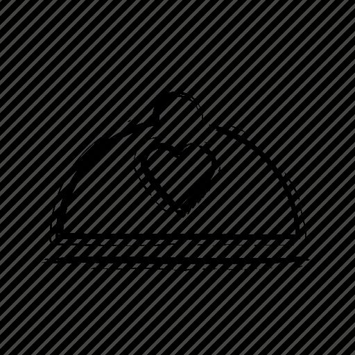 cloche, cuisine, dining, dishware, heart sign icon