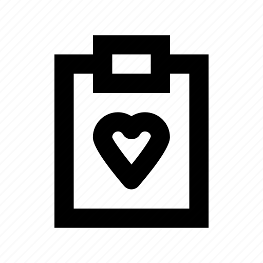 clipboard, heart clipboard, heart sign, papers, stationery icon