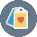 greeting, heart, label, sale, tag icon