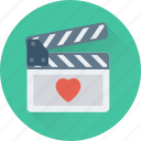 cinema, clapboard, clapper, heart, movie icon