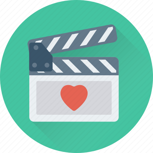 cinema, clapboard, clapper, heart, movie icon