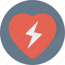 heart, love heart, love sign, romance, thunder icon