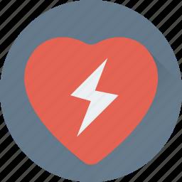 heart, love heart, love sign, romance, thunder icon