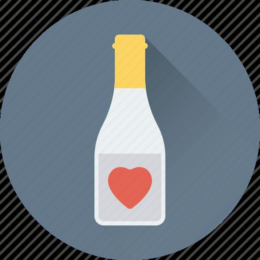 alcohol, bottle, champagne bottle, heart, wine icon