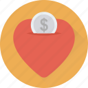coin, heart, heart slot, love heart, love sign icon