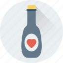 alcohol, bottle, champagne bottle, heart, wine icon