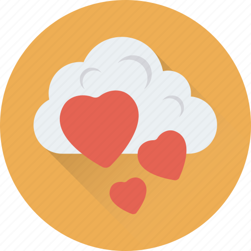 cloud, falling hearts, love in air, romantic weather, weather icon