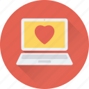 hearts, laptop, love chatting, lover chatting, romantic chat icon