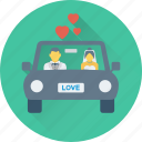 car, couple car, hearts, long drive, travel icon