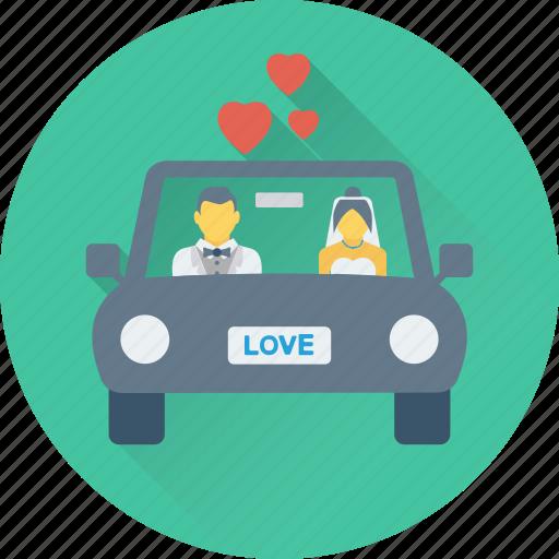 car, couple car, hearts, long drive, travel icon