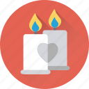 burning candles, candles, decoration, heart icon