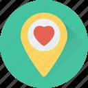 favorite location, heart, map pin, romance, sentiments