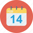 14 february, calendar, date, february, valentine day icon