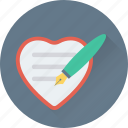 edit, heart, paper, pen, writing icon