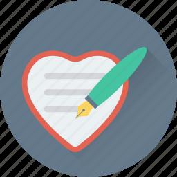 edit, heart, paper, pen, writing icon