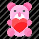 doll, heart, love, romance, romantic, teddy bear icon