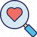 find partner, heart, love, magnifier icon