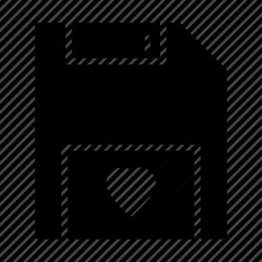 disk, floppy, heart, love, romance icon