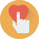 finger, hand, hand gesture, heart, heart touch icon