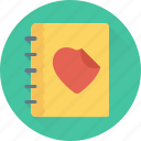 diary, love, memo, memories, notebook icon