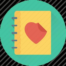 diary, love, memo, memories, notebook icon