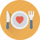 dining, fork, heart, knife, plate icon