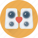 heart, speaker, speaker box, subwoofer, woofer icon