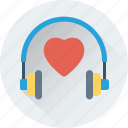 headphone, heart, love music, music, romantic music icon