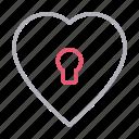 heart, keyhole, lock, love, romantic icon