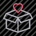 box, carton, heart, love, parcel